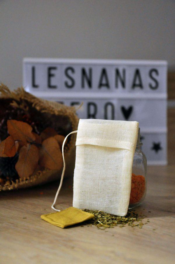 Filtre à thé réutilisable coton bio teinture vegetale